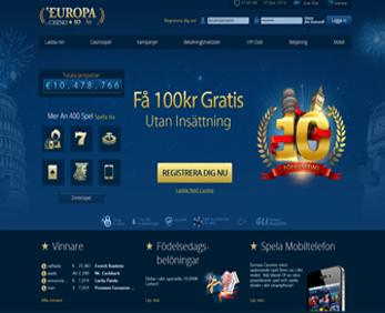 EuropaCasino 100 kr gratis